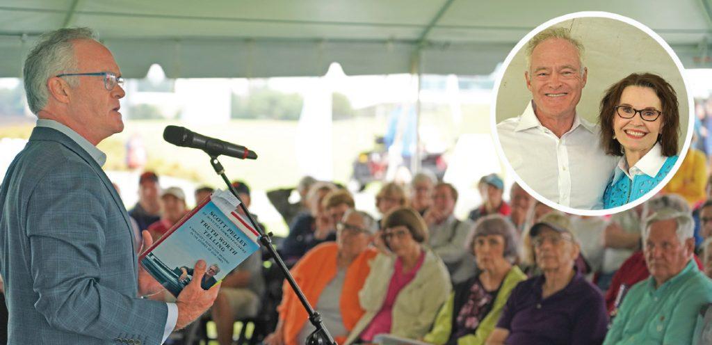Scott Pelley speaking at festival in 2019